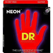 DR Strings NRE-10 Neon Red Coated Medium Black Light Electric Guitar 10-46