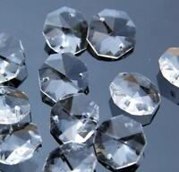 50Pcs 10-32mm Octagonal Clear Crystal Glass Pendant Beads Jewelry Making DIY