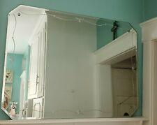 Large Vintage Art Deco Etched Mcm Beveled Rectangle Frameless Wall Mirror