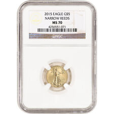 2015 American Gold Eagle 1/10 oz $5 - NGC MS70 - Narrow Reeds