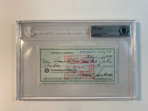 Vince Lombardi Signed Check Packers Autographed Beckett Authenticated