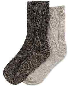 F280 Hue Women's Cable Boot Socks - 2 Pack, Cashew/Espresso, One-Size