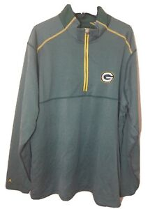 Antigua Mens Zip Pull Over Jacket Green Bay Packers Green Size XL