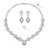 18k white gold gf crystal stud earrings necklace tear drop party wedding set