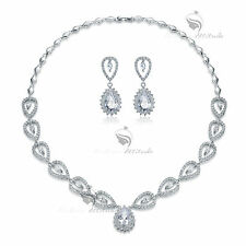 18k white gold gf crystal stud earrings necklace party wedding set