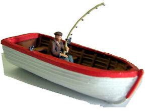"""Rowing Boat Fisherman Seats Oars """"Clinker"""" L34 UNPAINTED O Scale Models Kit"""
