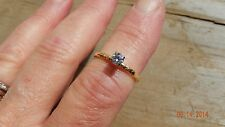 Vintage JABEL 18kt Yellow Gold .25 ct round gold Diamond solitaire Ring Size 6.5