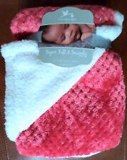 Adirondack Super Soft & Snuggly Girls Baby Blanket Dark Pink/Ivory Sherpa 30x40
