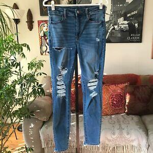 AMERICAN EAGLE sz 8 Ne(x)t Level Stretch Super Hi Rise Jegging Distressed Jeans