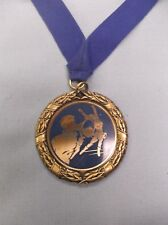 gold CHEERLEADING  medal blue award with neck drape