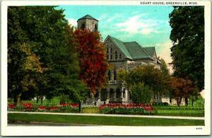 Greenville, Mississippi Postcard Washington County Court House / Linen c1940s