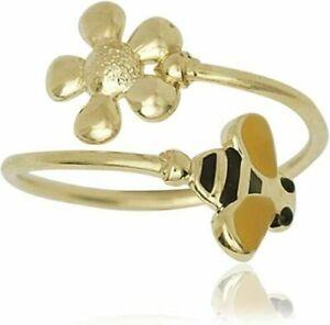 Designer 14k Yellow Gold Adjustable Enamel Daisy Bumble Bee Toe Ring