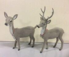Pair New Standing Grey Reindeer (Doe & Stag) Christmas Figure 16-18cm