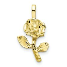 10k Yellow Gold Rose Charm Pendant. (0.7INx0.4IN)