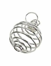 """Silver-Plated Round Spiral Coil Cage Pendant 3/4"""" Holds Crystals Beads Pearls"""