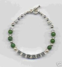 Personalised St Silver Bracelet - names and birthstones
