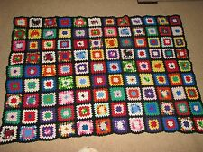 "Vintage 86""x53"" Hand Crochet Granny Square Afghan Black Bright Colors large"