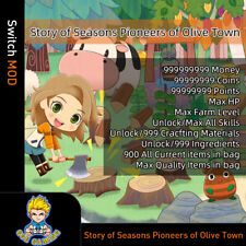 Story of Seasons Pioneers of Olive Town (Switch Mod)-Max Money/HP/Items/Level