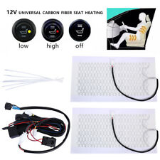 2PCS Car Heated Pads Van Heater Cushion Heating Warmer Seat Carbon Fiber Mat Kit