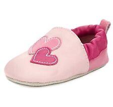 Baby Girls m&s cuir 2 tons de rose coeurs Landau Chaussures/chaussons 12-18 Mois BNWT