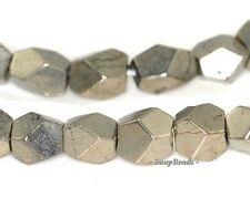 7MM-6MM IRON PYRITE GEMSTONE HEXAGON NUGGET CUBE LOOSE BEADS 15.5""