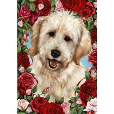Roses House Flag - White Goldendoodle 19271