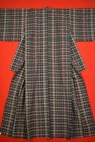 Vintage Japanese Wool Antique BORO KIMONO Kusakizome Dyde Textile/YJ66/840
