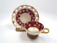 Vintage Japan Red & Gold Lusterware Floral Reticulated Footed Tea Cup & Saucer