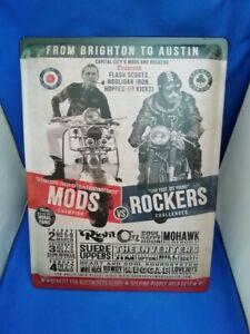 Large Retro Style Metal Wall Plaque Mods vs rockers Brighton Man Cave 30x40cms