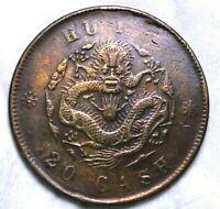 China Empire 20 Cash Hu-Poo DRagon Copper Coin  52-648