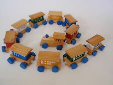 Vintage Hand Painted Wood Miniature Play Train Set Numbers 1-10 Domino Dots