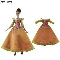 Orange Princess Gown Party Dresses Outfits For Barbie Dollhouse 1/6 Doll Clothes