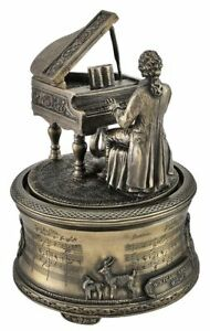 Mozart Playing Piano Spinning figurine / music Box by Veronese