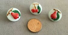 Three (3) Vintage Glass Hand-Painted Fruit Buttons - Czech Glass