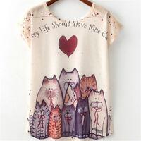 Femme t-shirt mignon joli Cat Print t shirt nouveau top manches courtes
