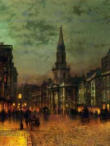 JOHN ATKINSON GRIMSHAW BLACKMAN STREET LONDON 1885 OLD ART PAINTING PRINT 1617OM