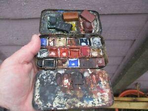 An Antique Artists Watercolour Paint Box & Loose Blocks c1880/1900