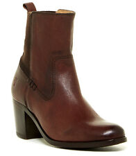 NIB FRYE Janis Gore Dark Brown Baffalo Leather Short Ankle Boot Size 7 NEW Heels