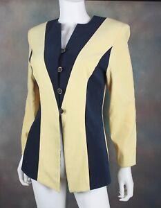 💋 Vintage 80's 90's Amanda Smith Blazer Jacket Women's 6 Yellow Blue Power Suit