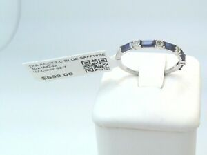 $700 SOLID 10K GOLD REAL DIAMOND/LC BLUE SAPPHIRE STACKABLE DAINTY RING BAND WOW