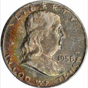 1958-D Franklin Half - PCGS MS-66+, CAC; fantastic toned coin; Fantastic