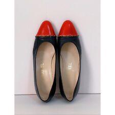 👠Vintage CHANEL Red /Navy Blue Bicolor Leather Shoes Pumps  Flats Fit Sz 6, 6.5