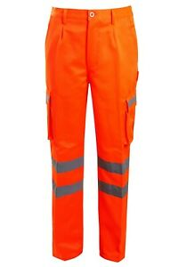 HI VIZ VIS  COMBAT TROUSERS POLYCOTTON SAFETY WORKWEAR CARGO PANTS