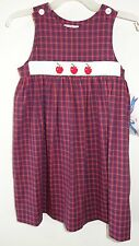 New Silly Goose Smocked Apples Dress / Jumper ~ Girl's Size 2