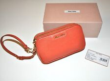 MIU MIU Madras Leather Wristlet Clutch Mini Bag in Mandarino Orange
