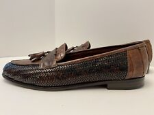 BELVEDERE Mens Dress Shoes Brown Genuine Crocodile Tassel Loafers Sz Size 13M
