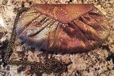 LAUREN MERKIN Gold Iridescent Satin Clutch Bag