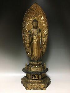 old Edo Period Japanese Japan,Jodo shu wooden Buddha statue of Amitaba 50cm 江