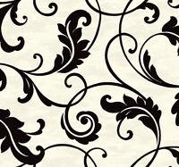 Tapete, Designtapete, Packpapier, florale Ranken, Schimmer, Elfenbein, Coal