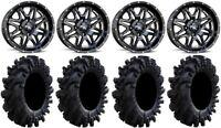 "MSA Black Vibe 14"" ATV Wheels 28"" Intimidator Tires Can-Am Renegade Outlander"